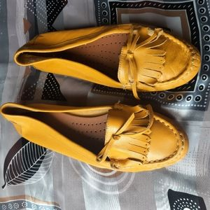Bogo Loafers leather flats yellow spring shoes